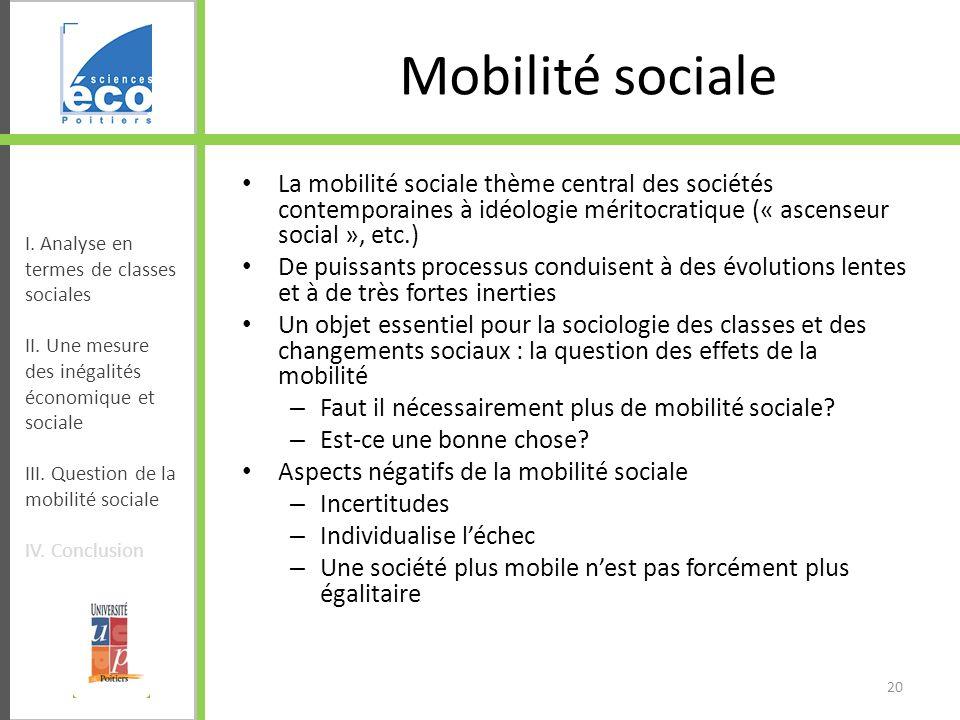 Mobilité sociale La mobilité sociale thème central des sociétés contemporaines à idéologie méritocratique (« ascenseur social », etc.) De puissants pr