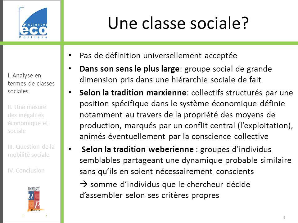 3 Une classe sociale? Pas de définition universellement acceptée Dans son sens le plus large: groupe social de grande dimension pris dans une hiérarch