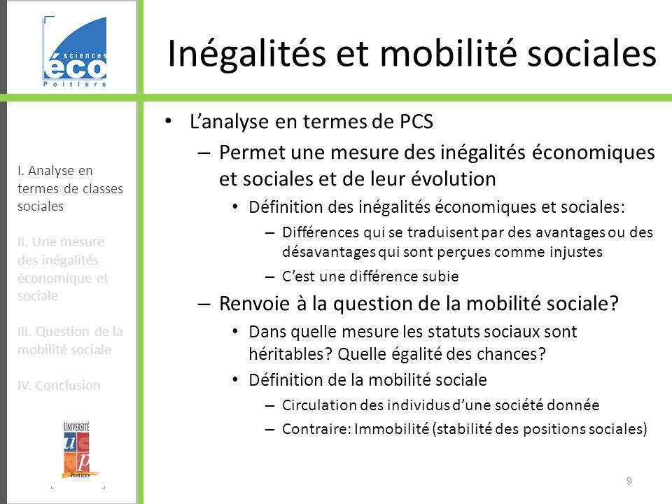 Inégalités et mobilité sociales Lanalyse en termes de PCS – Permet une mesure des inégalités économiques et sociales et de leur évolution Définition d