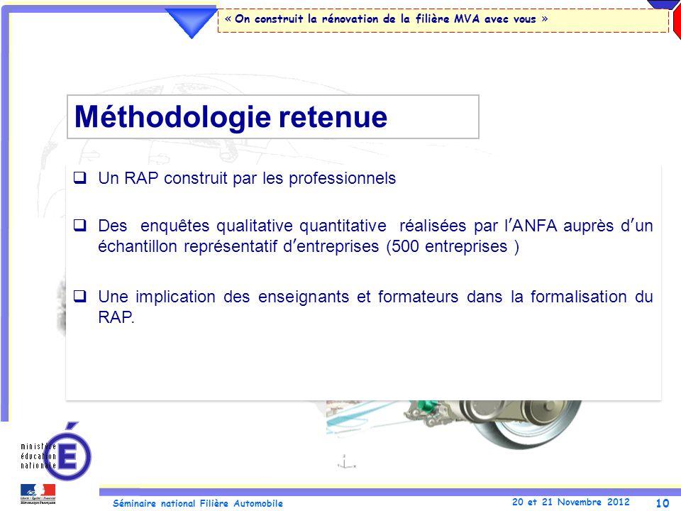 10 Séminaire national Filière Automobile 20 et 21 Novembre 2012 « On construit la rénovation de la filière MVA avec vous » Un RAP construit par les pr