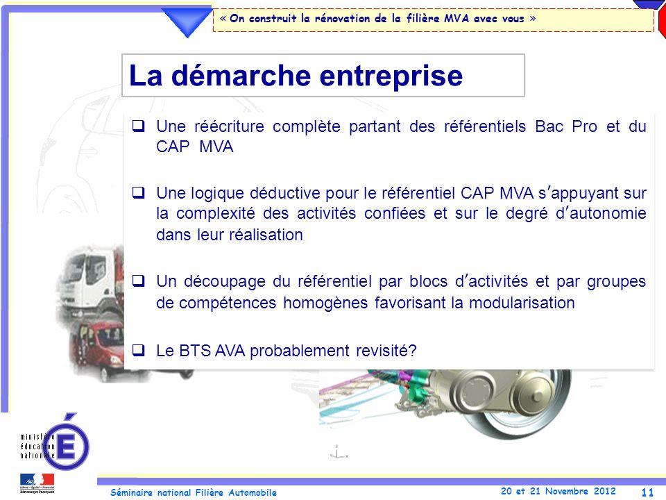 11 Séminaire national Filière Automobile 20 et 21 Novembre 2012 « On construit la rénovation de la filière MVA avec vous » Une réécriture complète par