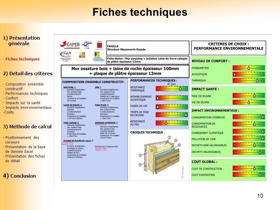 10 1) Présentation générale - Fiches techniques 2) Détail des critères - Composition ensemble constructif - Performances techniques - Confort - Impact
