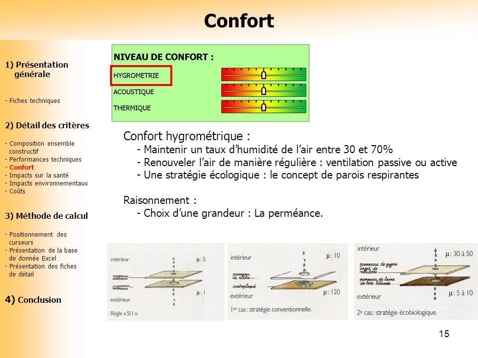 15 Confort hygrométrique : - Maintenir un taux dhumidité de lair entre 30 et 70% - Renouveler lair de manière régulière : ventilation passive ou activ