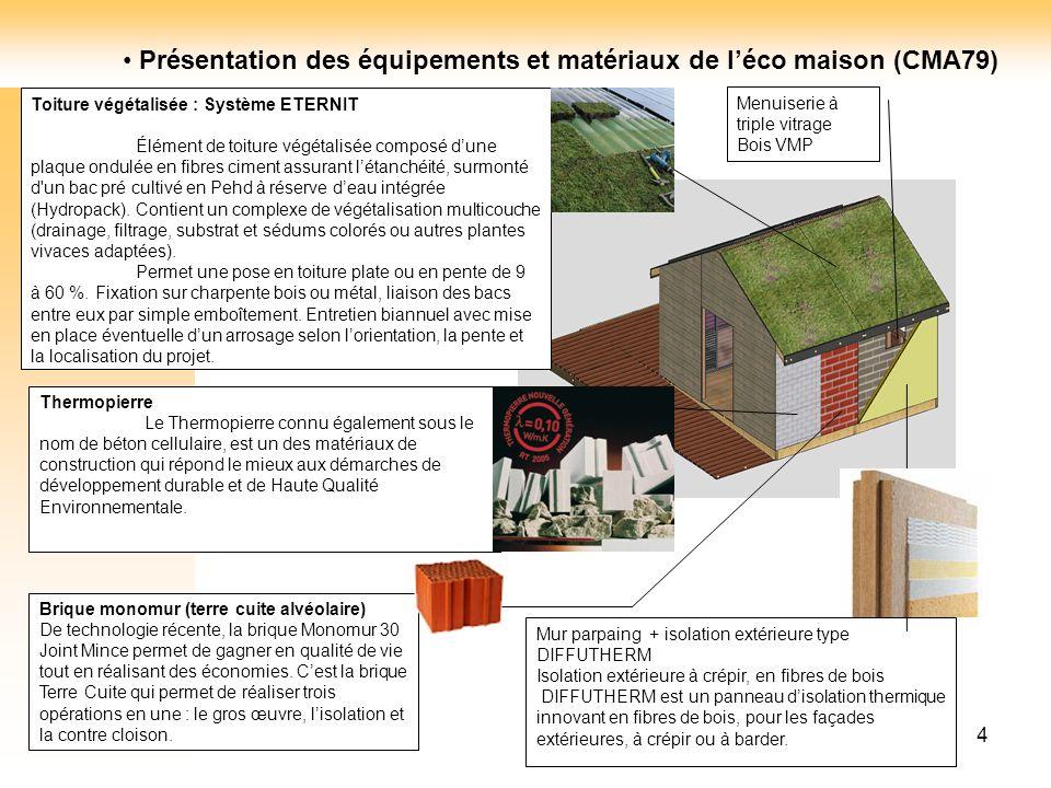 4 Toiture végétalisée : Système ETERNIT Élément de toiture végétalisée composé dune plaque ondulée en fibres ciment assurant létanchéité, surmonté d'u