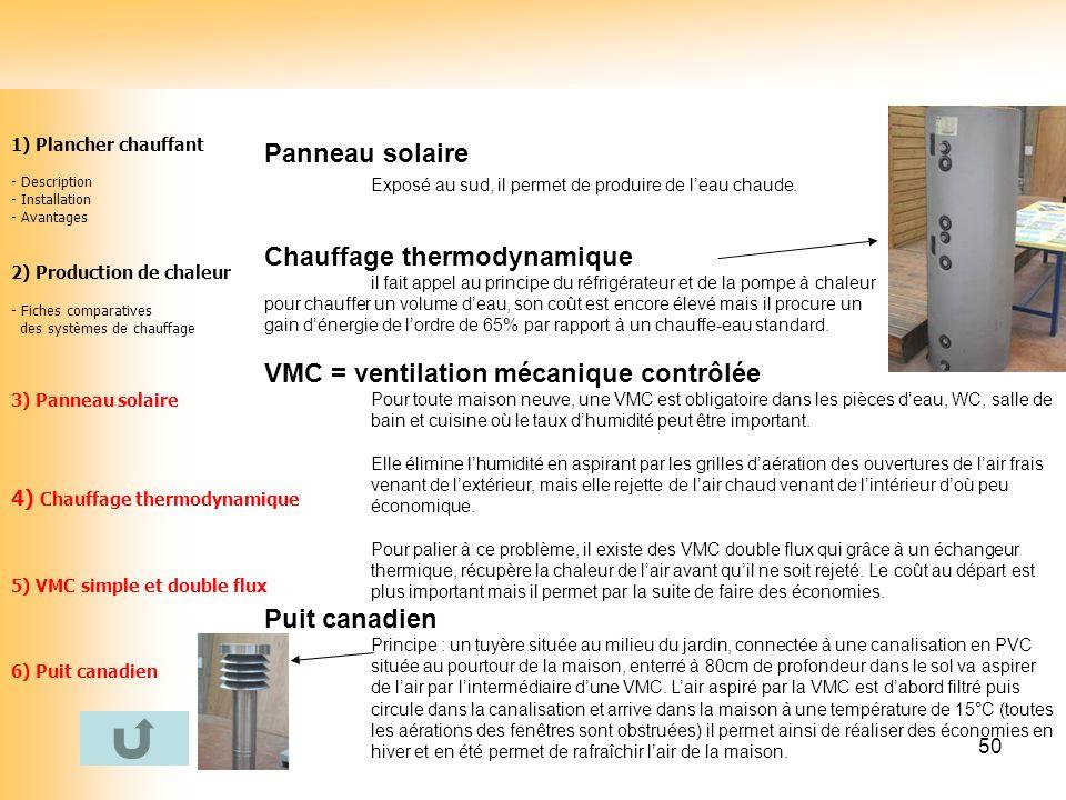 50 1) Plancher chauffant - Description - Installation - Avantages 2) Production de chaleur - Fiches comparatives des systèmes de chauffage 3) Panneau
