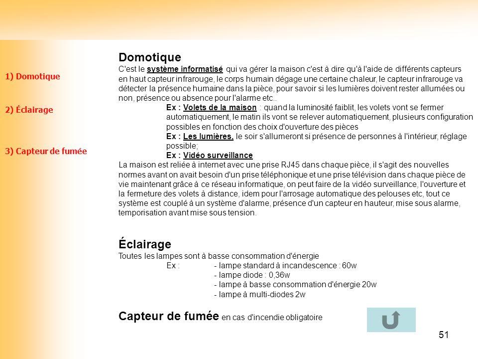 51 1) Domotique 2) Éclairage 3) Capteur de fumée Domotique C'est le système informatisé qui va gérer la maison c'est à dire qu'à l'aide de différents
