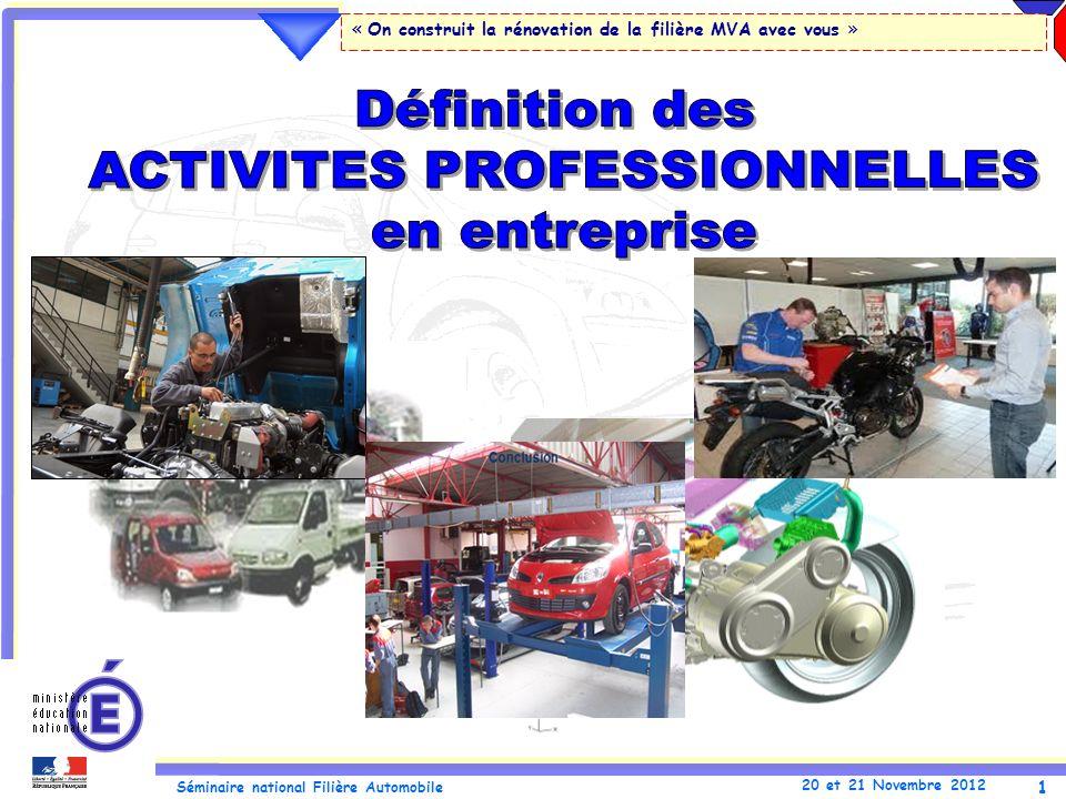 1 Séminaire national Filière Automobile 20 et 21 Novembre 2012 « On construit la rénovation de la filière MVA avec vous »