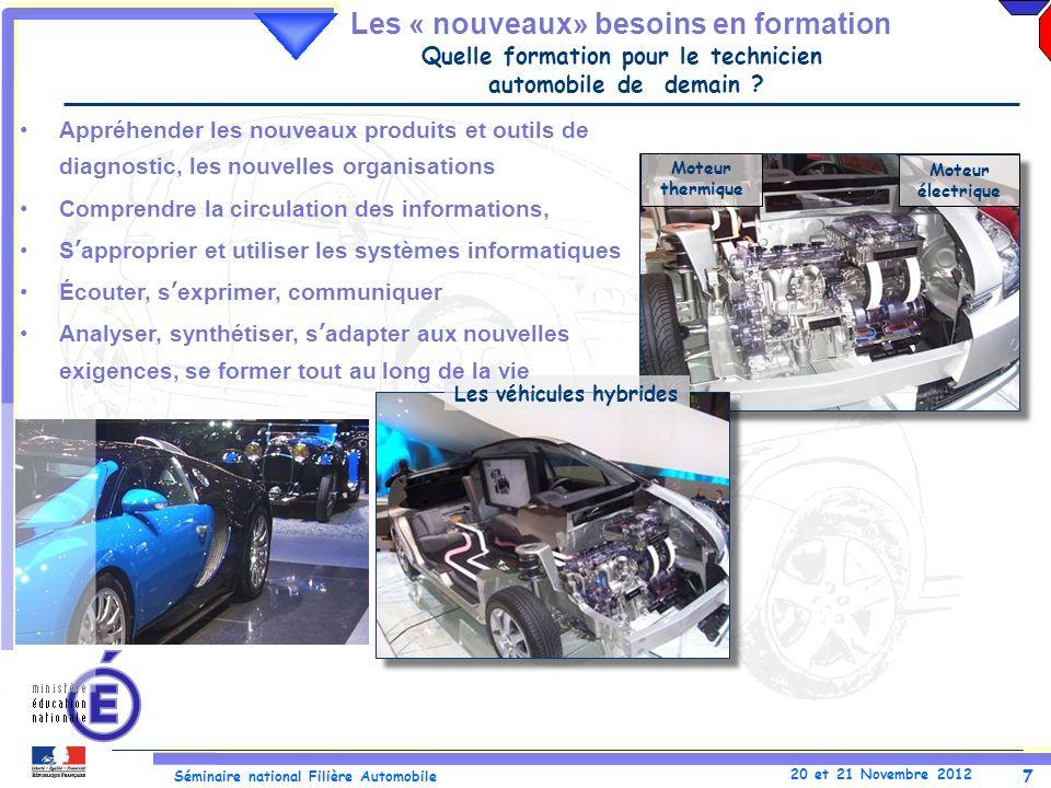 7 Séminaire national Filière Automobile 20 et 21 Novembre 2012 Les véhicules hybrides Moteur électrique Moteur thermique Appréhender les nouveaux prod