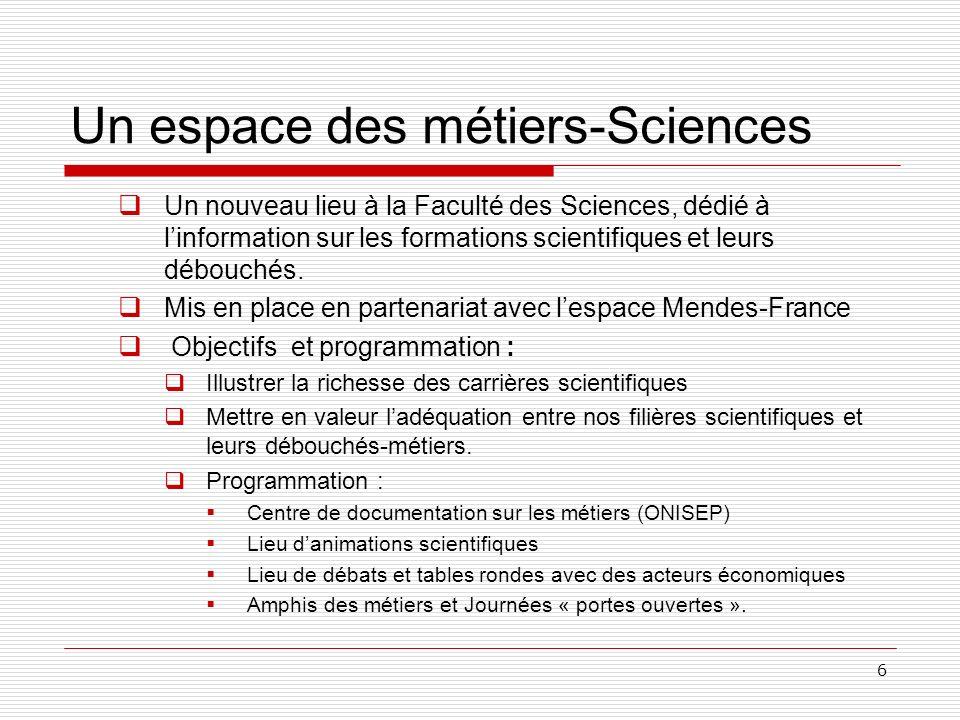 6 Un espace des métiers-Sciences Un nouveau lieu à la Faculté des Sciences, dédié à linformation sur les formations scientifiques et leurs débouchés.