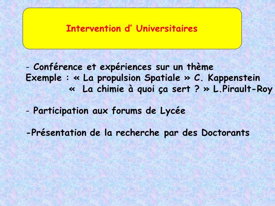- Conférence et expériences sur un thème Exemple : « La propulsion Spatiale » C.