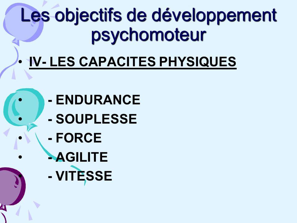 Les objectifs de développement psychomoteur IV- LES CAPACITES PHYSIQUES - ENDURANCE - SOUPLESSE - FORCE - AGILITE - VITESSE