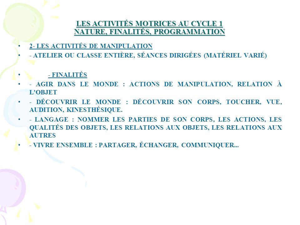 LES ACTIVITÉS MOTRICES AU CYCLE 1 NATURE, FINALITÉS, PROGRAMMATION 2- LES ACTIVITÉS DE MANIPULATION - ATELIER OU CLASSE ENTIÈRE, SÉANCES DIRIGÉES (MATÉRIEL VARIÉ) - FINALITÉS - AGIR DANS LE MONDE : ACTIONS DE MANIPULATION, RELATION À L OBJET - DÉCOUVRIR LE MONDE : DÉCOUVRIR SON CORPS, TOUCHER, VUE, AUDITION, KINESTHÉSIQUE.