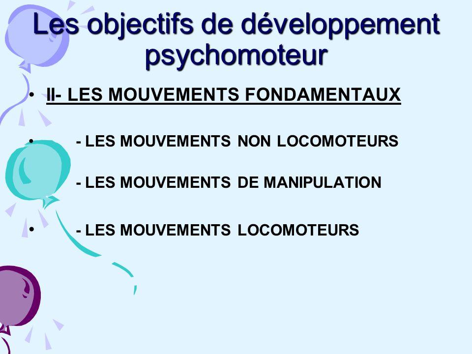 Les objectifs de développement psychomoteur II- LES MOUVEMENTS FONDAMENTAUX - LES MOUVEMENTS NON LOCOMOTEURS - LES MOUVEMENTS DE MANIPULATION - LES MOUVEMENTS LOCOMOTEURS
