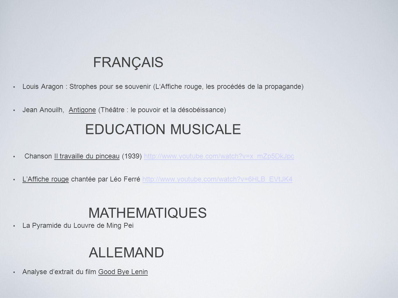 FRANÇAIS Louis Aragon : Strophes pour se souvenir (LAffiche rouge, les procédés de la propagande) Jean Anouilh, Antigone (Théâtre : le pouvoir et la d
