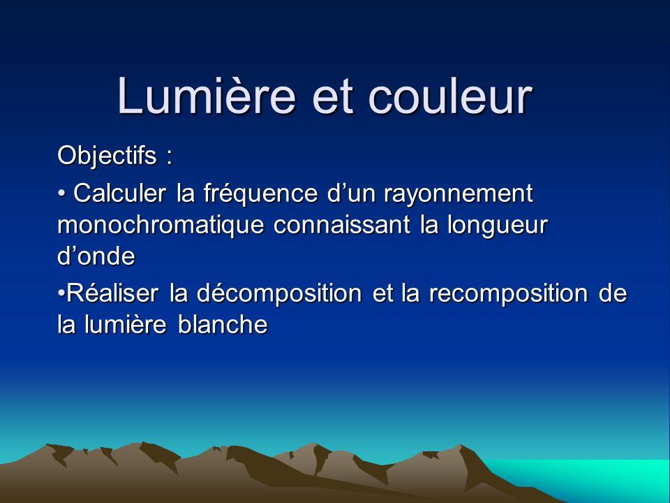 Lumière et couleur Objectifs : Calculer la fréquence dun rayonnement monochromatique connaissant la longueur donde Calculer la fréquence dun rayonneme