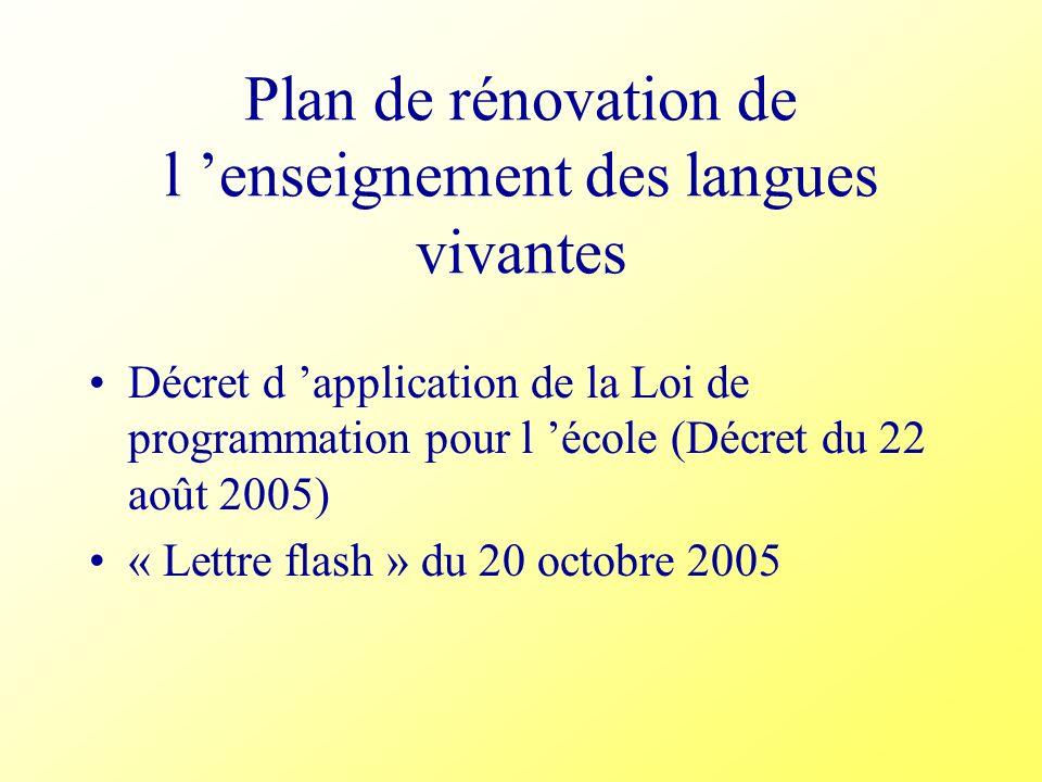 Plan de rénovation de l enseignement des langues vivantes Décret d application de la Loi de programmation pour l école (Décret du 22 août 2005) « Lett