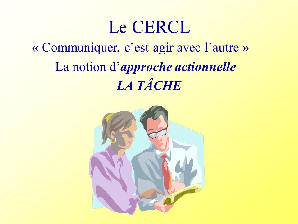 Le CERCL « Communiquer, cest agir avec lautre » La notion dapproche actionnelle LA TÂCHE