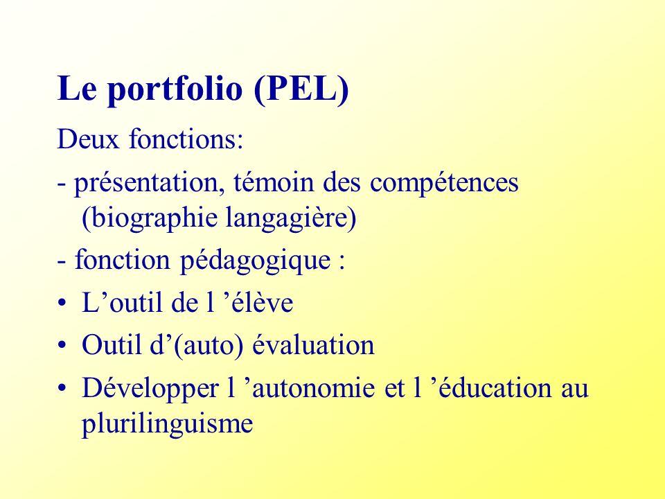 Le portfolio (PEL) Deux fonctions: - présentation, témoin des compétences (biographie langagière) - fonction pédagogique : Loutil de l élève Outil d(a