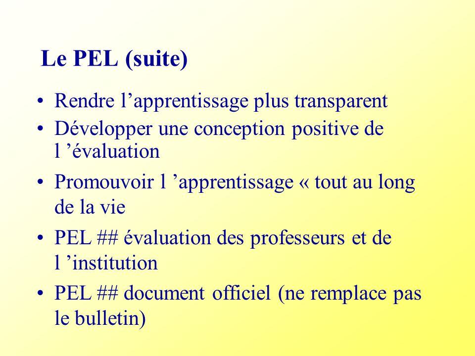 Le PEL (suite) Rendre lapprentissage plus transparent Développer une conception positive de l évaluation Promouvoir l apprentissage « tout au long de