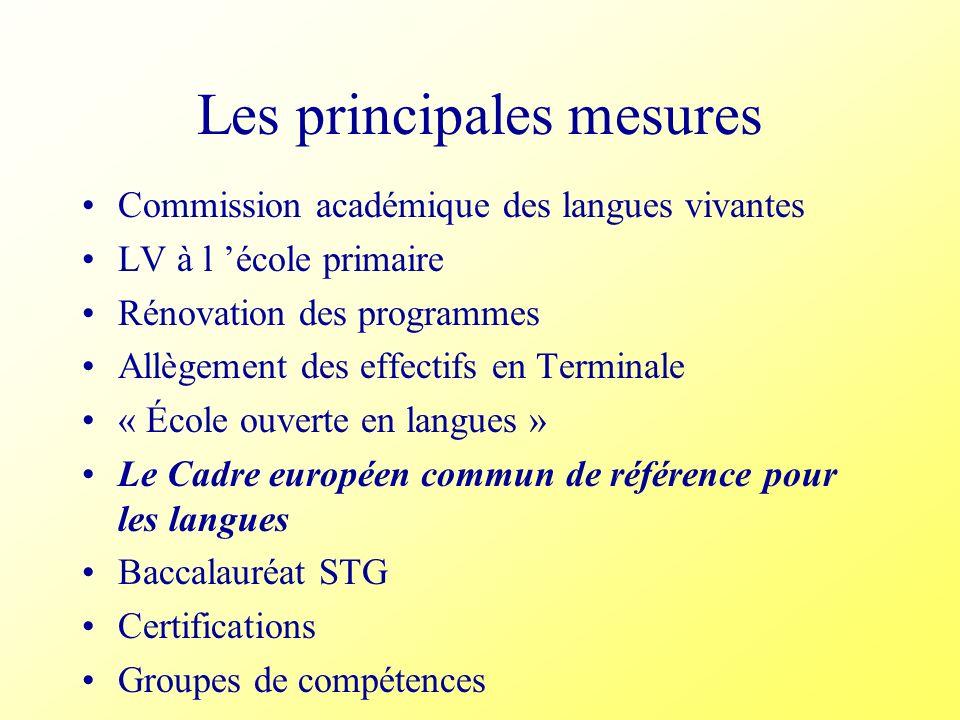 Les principales mesures Commission académique des langues vivantes LV à l école primaire Rénovation des programmes Allègement des effectifs en Termina