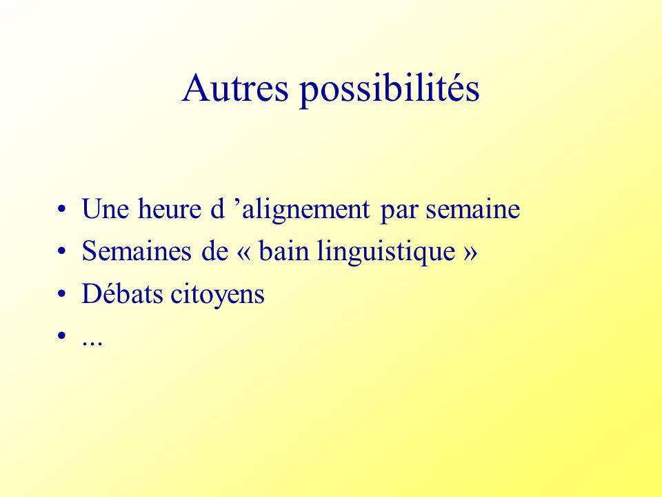 Autres possibilités Une heure d alignement par semaine Semaines de « bain linguistique » Débats citoyens...