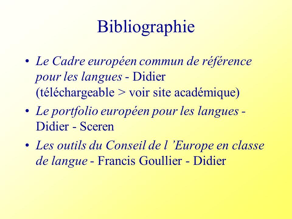 Bibliographie Le Cadre européen commun de référence pour les langues - Didier (téléchargeable > voir site académique) Le portfolio européen pour les l