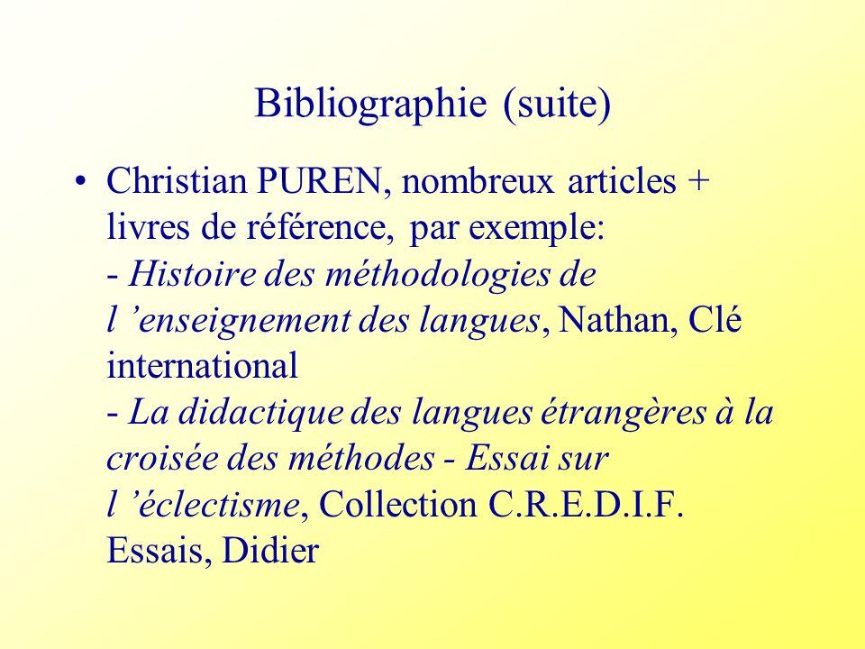 Bibliographie (suite) Christian PUREN, nombreux articles + livres de référence, par exemple: - Histoire des méthodologies de l enseignement des langue