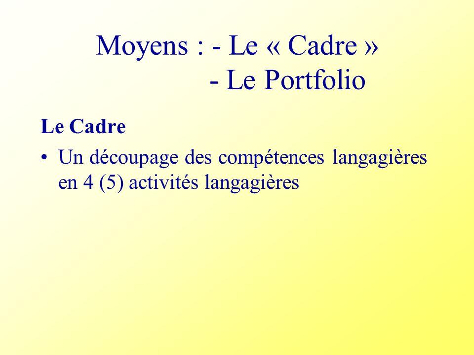 Moyens : - Le « Cadre » - Le Portfolio Le Cadre Un découpage des compétences langagières en 4 (5) activités langagières