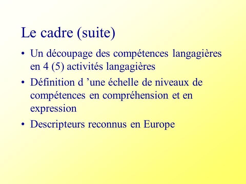 Le cadre (suite) Un découpage des compétences langagières en 4 (5) activités langagières Définition d une échelle de niveaux de compétences en compréh
