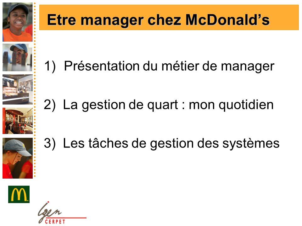 1)Présentation du métier de manager 2) La gestion de quart : mon quotidien 3) Les tâches de gestion des systèmes Etre manager chez McDonalds