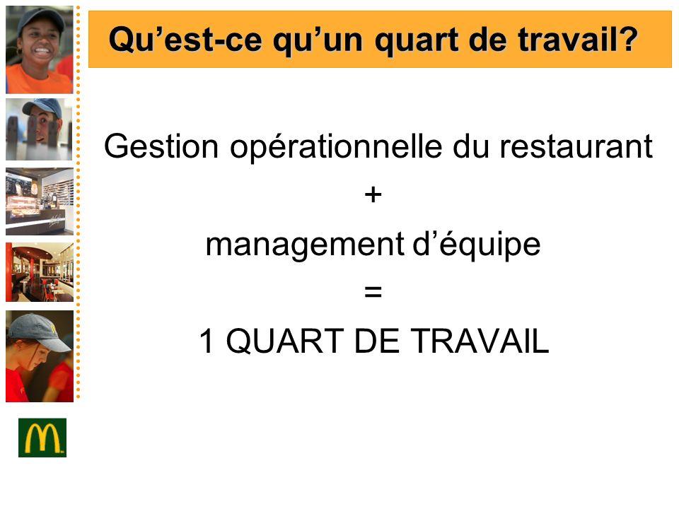 Quest-ce quun quart de travail? Gestion opérationnelle du restaurant + management déquipe = 1 QUART DE TRAVAIL