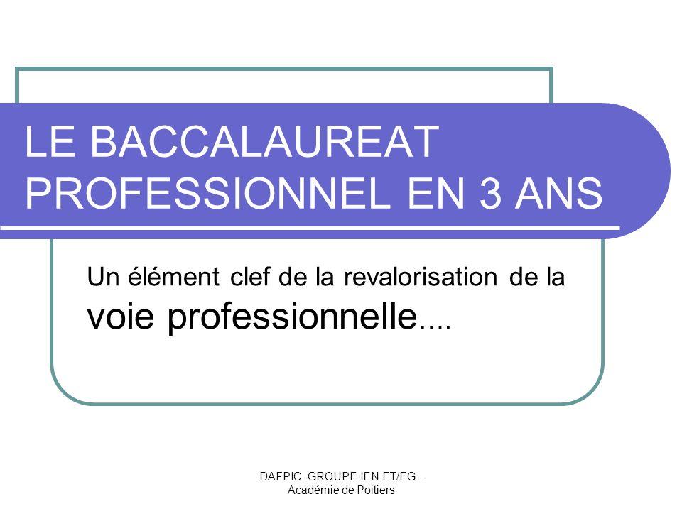 DAFPIC- GROUPE IEN ET/EG - Académie de Poitiers En 2008 – 2009… Le PAF : Le baccalauréat professionnel en 3 ans est une priorité du plan de formation Un accompagnement des équipes dans les établissements Un suivi des corps dinspection pour une évaluation des dispositifs