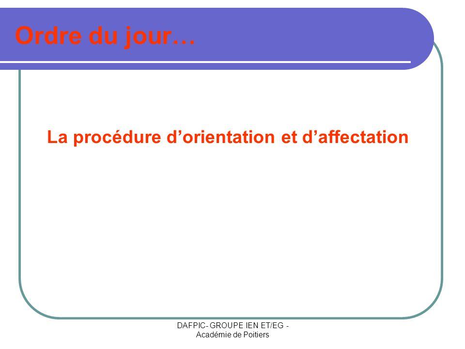 DAFPIC- GROUPE IEN ET/EG - Académie de Poitiers Ordre du jour… La procédure dorientation et daffectation