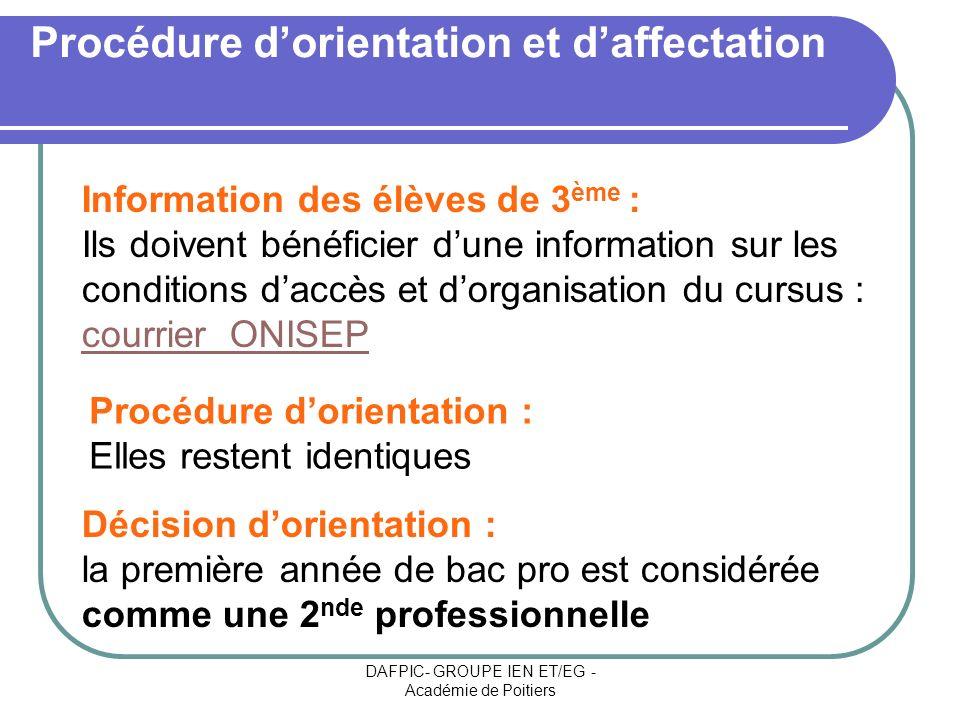 DAFPIC- GROUPE IEN ET/EG - Académie de Poitiers Procédure dorientation et daffectation Décision dorientation : la première année de bac pro est consid
