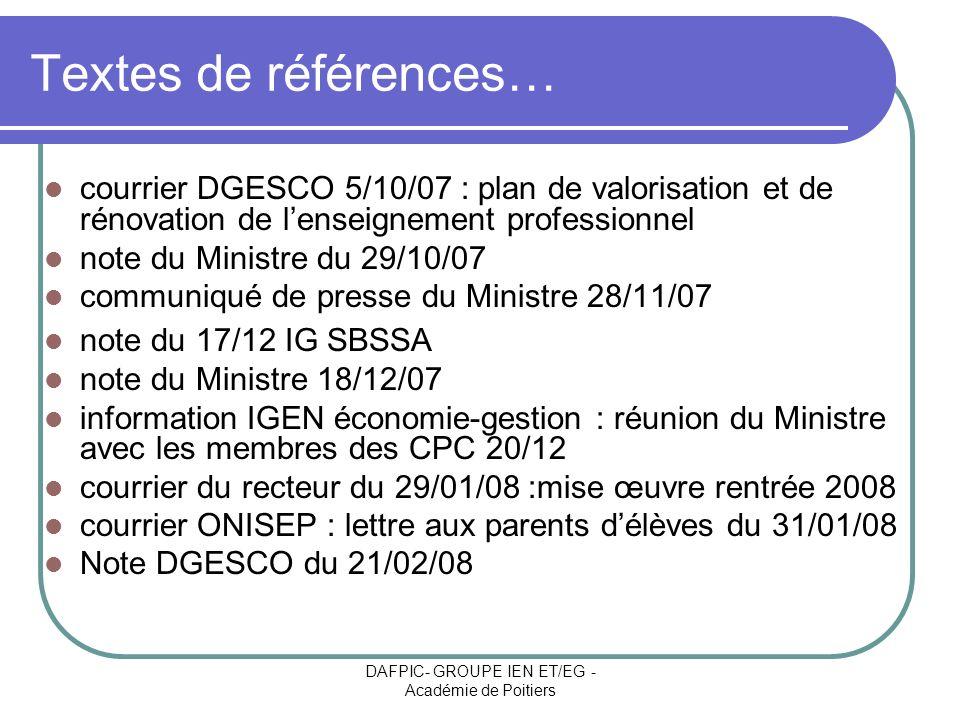 DAFPIC- GROUPE IEN ET/EG - Académie de Poitiers Textes de références… courrier DGESCO 5/10/07 : plan de valorisation et de rénovation de lenseignement