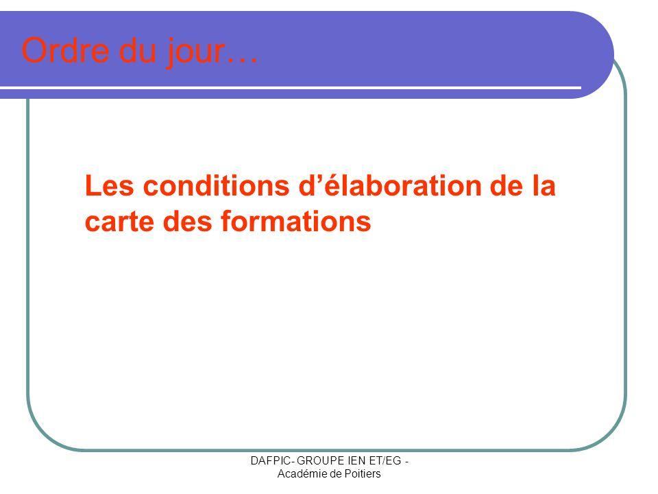 DAFPIC- GROUPE IEN ET/EG - Académie de Poitiers Ordre du jour… Les conditions délaboration de la carte des formations