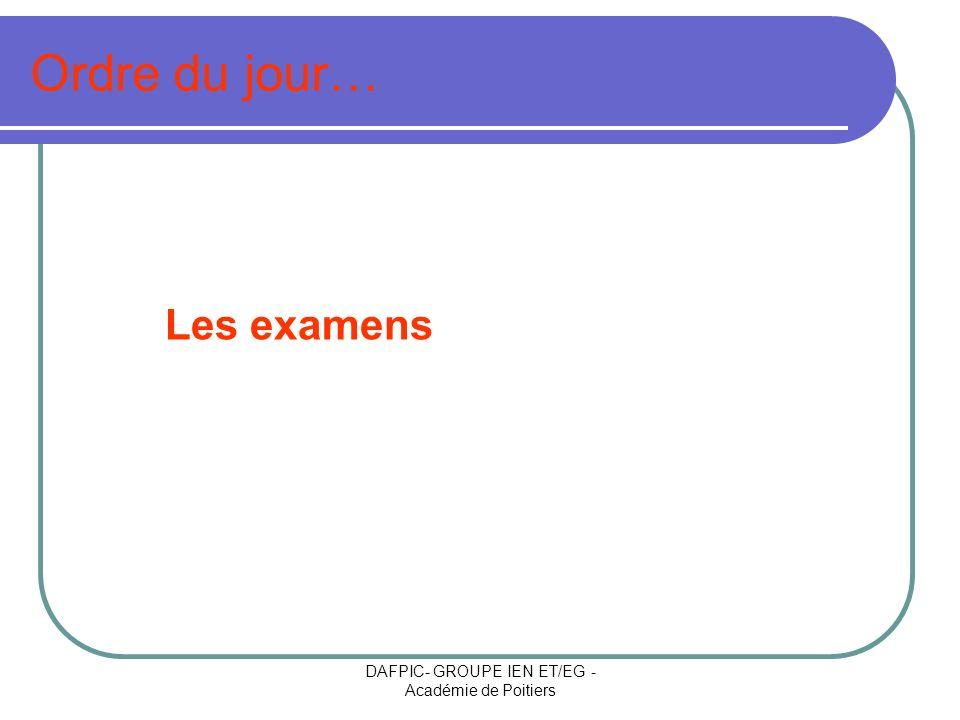DAFPIC- GROUPE IEN ET/EG - Académie de Poitiers Ordre du jour… Les examens