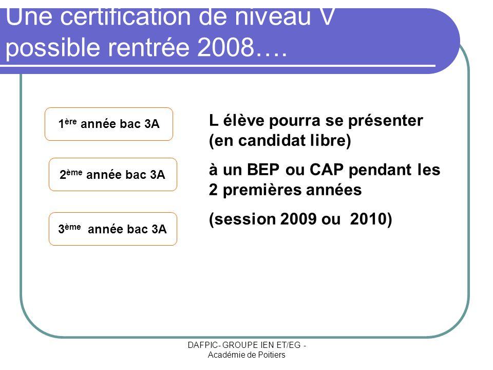 DAFPIC- GROUPE IEN ET/EG - Académie de Poitiers Une certification de niveau V possible rentrée 2008…. L élève pourra se présenter (en candidat libre)