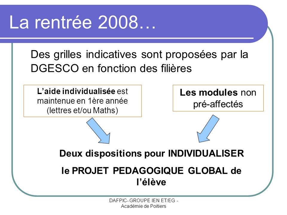 DAFPIC- GROUPE IEN ET/EG - Académie de Poitiers La rentrée 2008… Des grilles indicatives sont proposées par la DGESCO en fonction des filières Laide i
