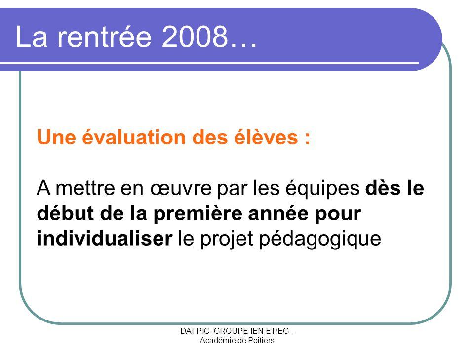 DAFPIC- GROUPE IEN ET/EG - Académie de Poitiers La rentrée 2008… Une évaluation des élèves : A mettre en œuvre par les équipes dès le début de la prem