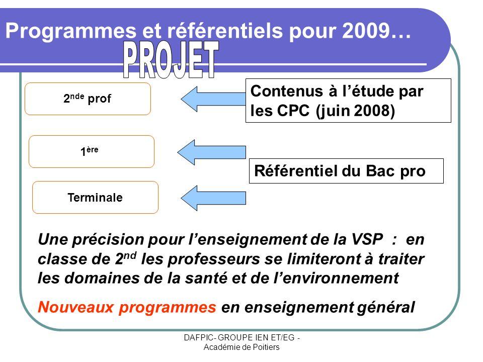 DAFPIC- GROUPE IEN ET/EG - Académie de Poitiers Programmes et référentiels pour 2009… 2 nde prof 1 ère Terminale Contenus à létude par les CPC (juin 2