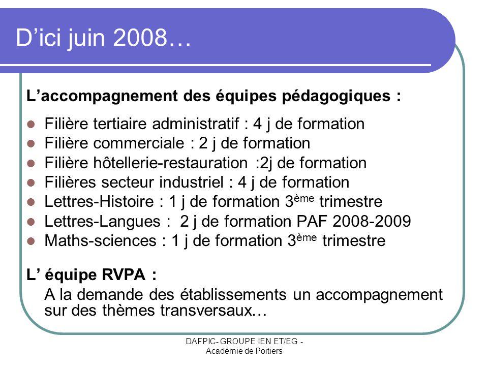 DAFPIC- GROUPE IEN ET/EG - Académie de Poitiers Dici juin 2008… Laccompagnement des équipes pédagogiques : Filière tertiaire administratif : 4 j de fo