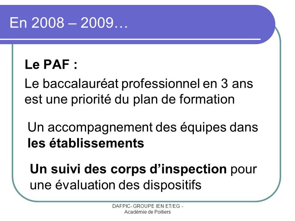 DAFPIC- GROUPE IEN ET/EG - Académie de Poitiers En 2008 – 2009… Le PAF : Le baccalauréat professionnel en 3 ans est une priorité du plan de formation