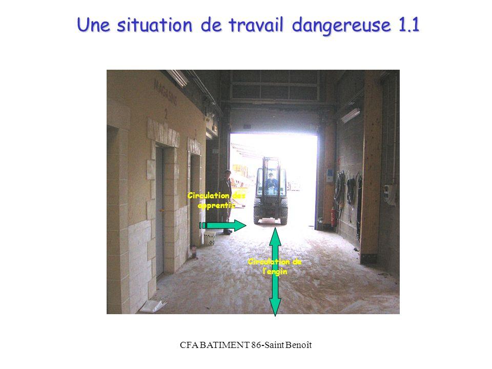 CFA BATIMENT 86-Saint Benoît Une situation de travail dangereuse 1.1 Circulation des apprentis Circulation de lengin