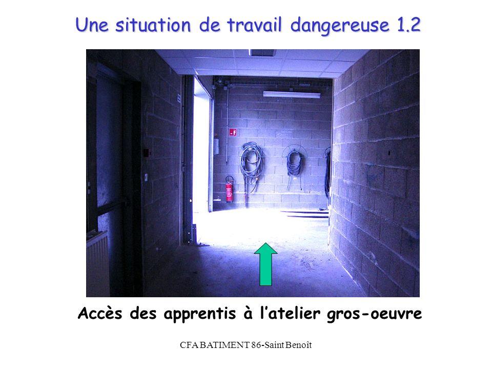 CFA BATIMENT 86-Saint Benoît Une situation de travail dangereuse 1.2 Accès des apprentis à latelier gros-oeuvre