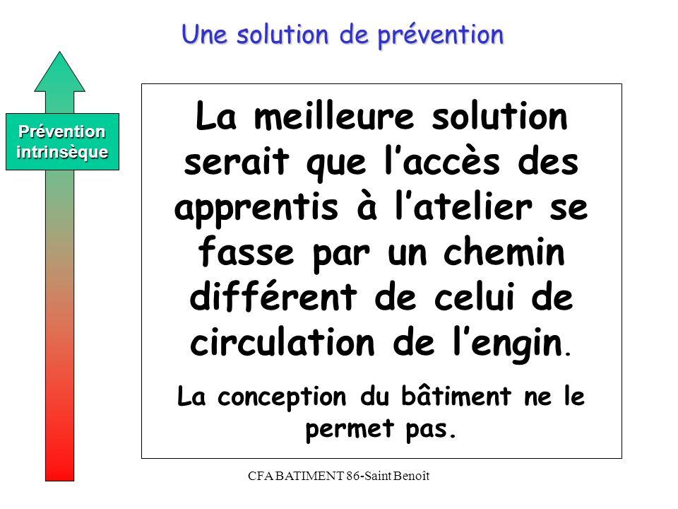 CFA BATIMENT 86-Saint Benoît Une solution de prévention Préventionintrinsèque La meilleure solution serait que laccès des apprentis à latelier se fass