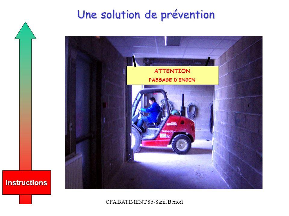 CFA BATIMENT 86-Saint Benoît Une solution de prévention Instructions ATTENTION PASSAGE DENGIN