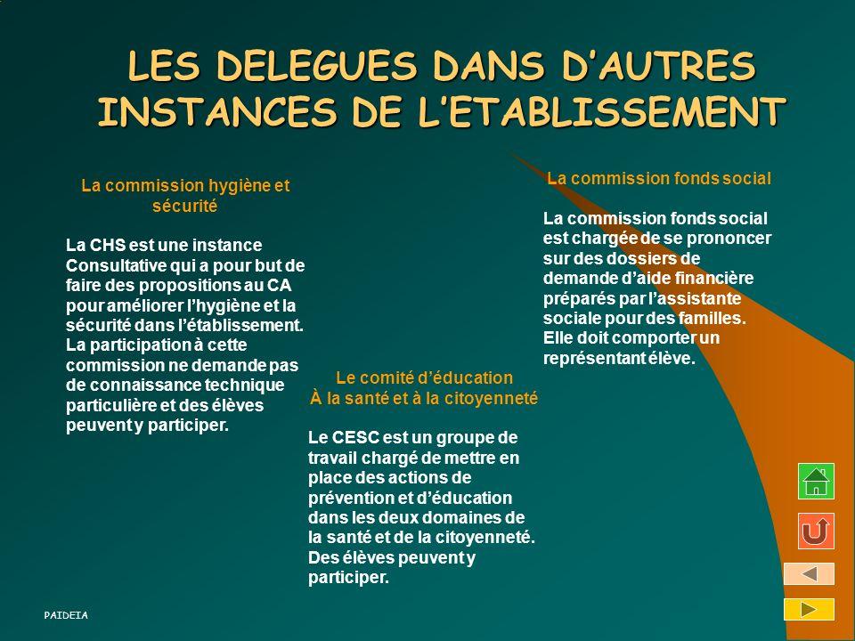 LES DELEGUES DANS DAUTRES INSTANCES DE LETABLISSEMENT La commission hygiène et sécurité La CHS est une instance Consultative qui a pour but de faire d