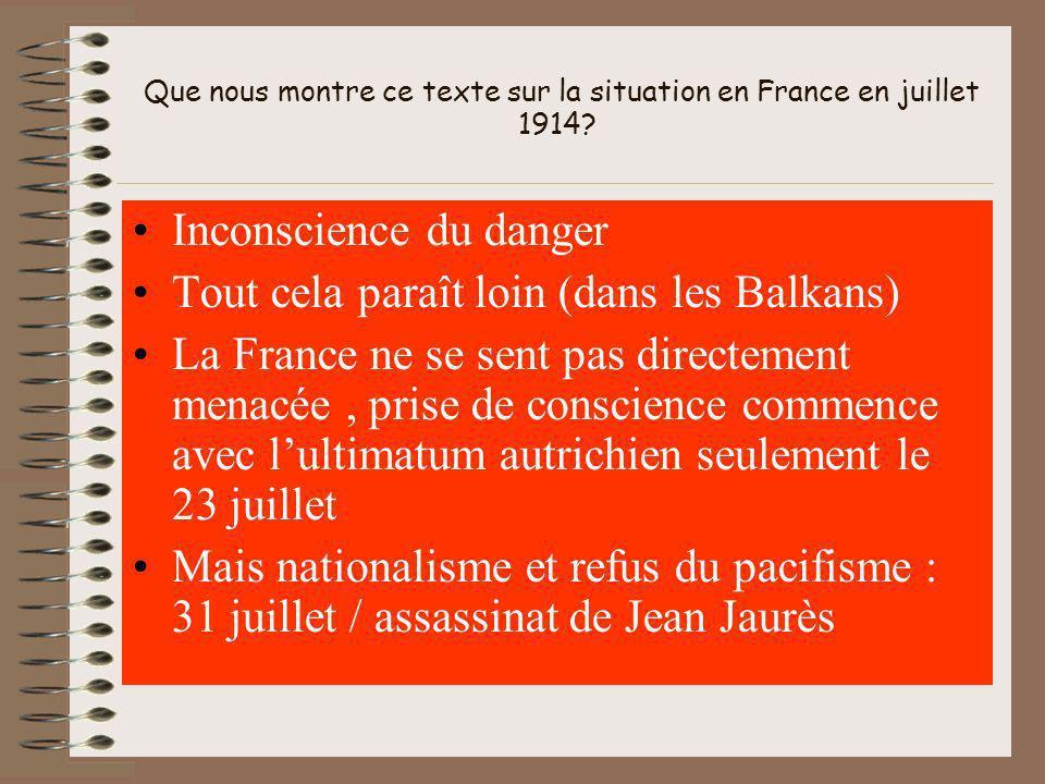 Que nous montre ce texte sur la situation en France en juillet 1914.