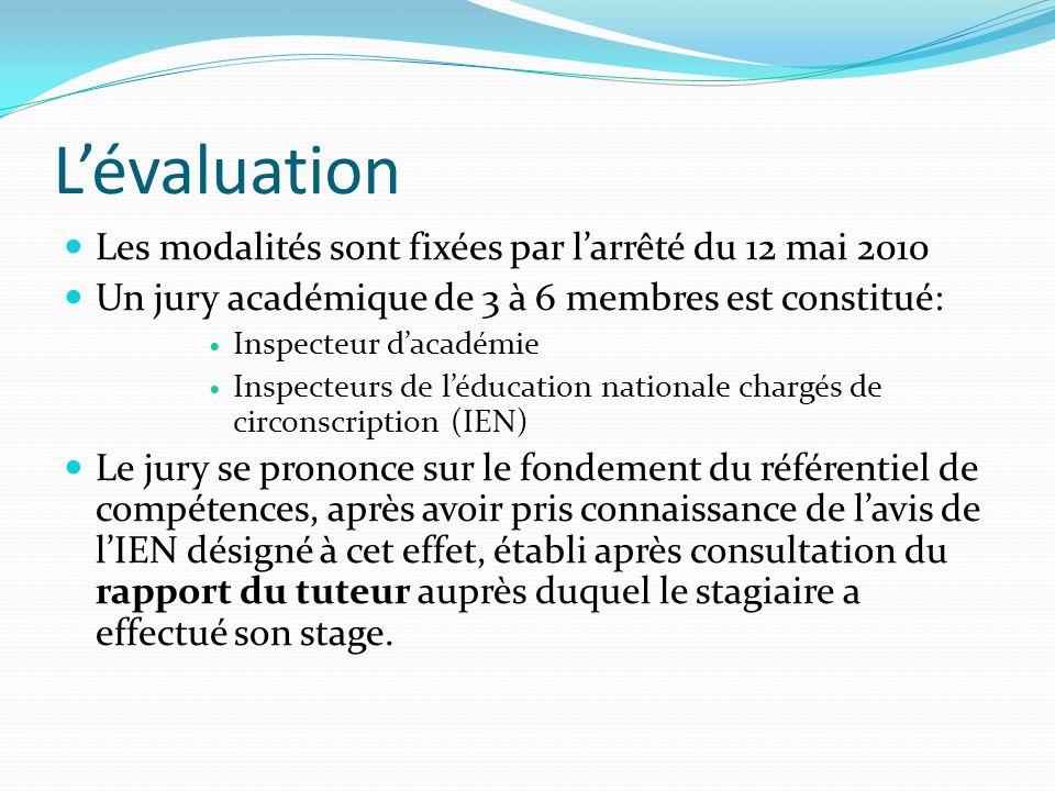 Lévaluation Les modalités sont fixées par larrêté du 12 mai 2010 Un jury académique de 3 à 6 membres est constitué: Inspecteur dacadémie Inspecteurs d